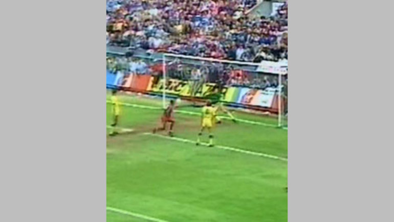 Ian Wright heads in the third goal