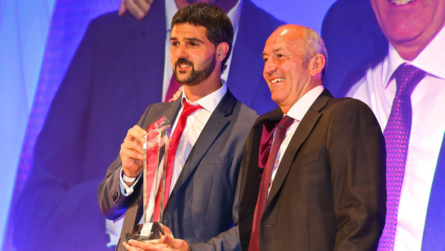 Speroni receives the player of the year award from Tony Pulis