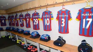 Palace shirts in the dressing room at Selhurst Park