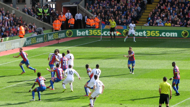 Glenn Murray runs at the United goal in the second half but his luck was out.
