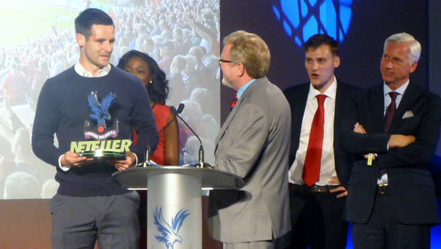 Scott Dann receives the Player of the Year award (Photo: Crystal Palace Supporters' Trust)