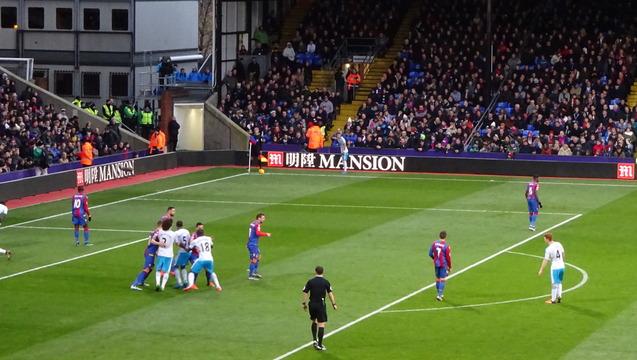 Eagles attack the Holmesdale end in the second half against Newcastle United.