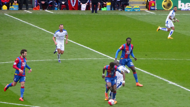 As usual, Wilf receives a harsh tackle from Leicester's Kante in the 0-1 defeat at Selhurst.