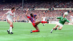 Ian Wright scores his second against United