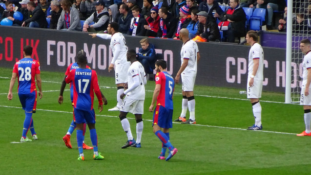 Palace line up for a corner but it was a Watford shirt that eventually decided the game