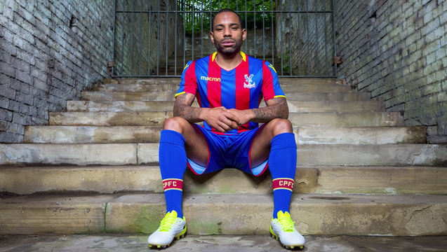 Jason Puncheon models the new Palace home kit for the 2017/18 season.