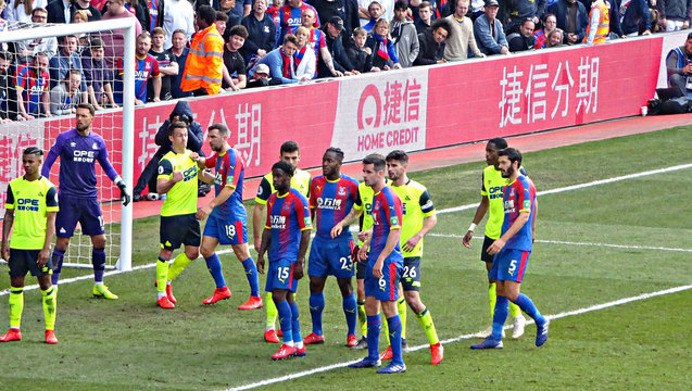 Eagles line up for a corner at the Holmesdale end in second half but there was no joy