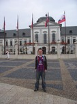 rgmonster in front of the Slovak Presidents' Palace in Bratislava baring the beloved red and blue!