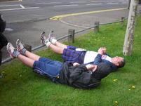 Hibbystu and Fraser outside Kempton Park