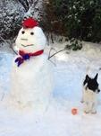 CPFC snowman from a fan in Hoboken, New Jersey, USA