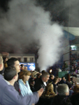 Now, it looks like smoke, but I can assure you it is tickertape
