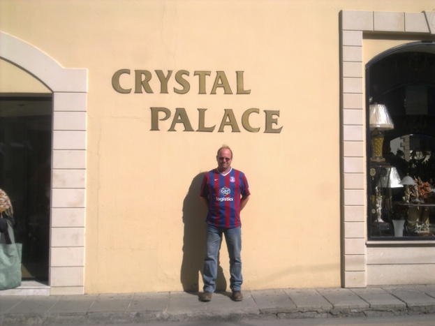 Howard (North Wales Exile) outside a shop in Larnaca, Cyprus